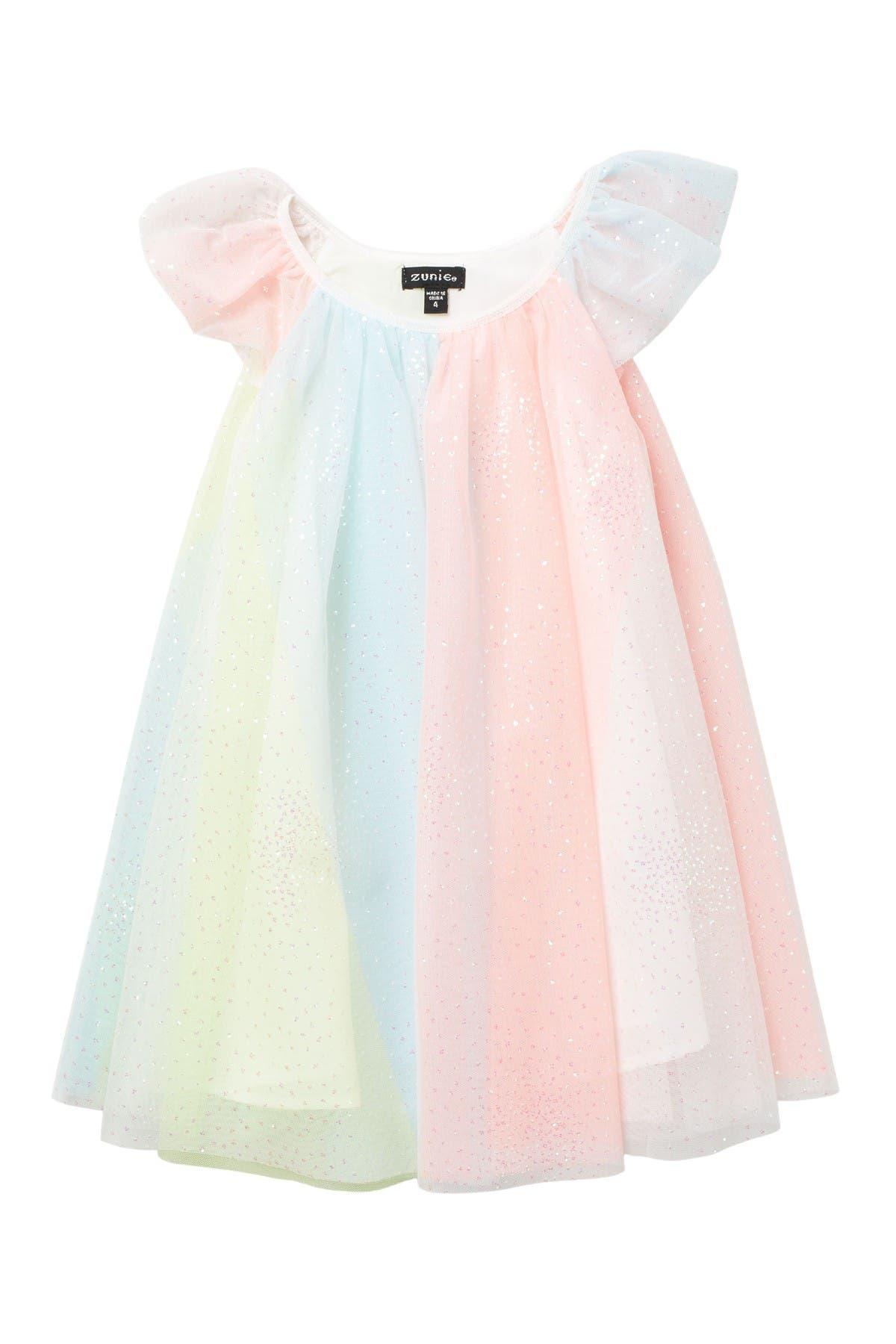 Zunie Flutter Sleeve Rainbow Float Dress