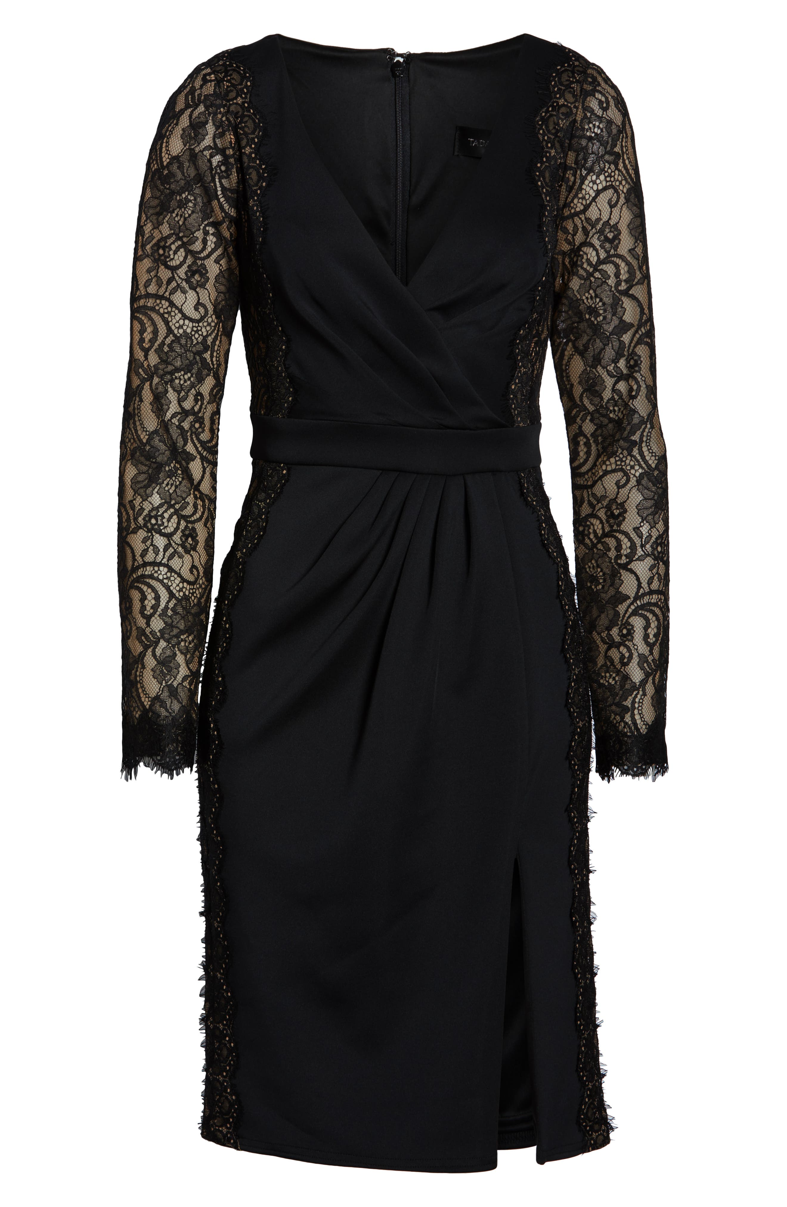 ,                             Long Sleeve Neoprene & Lace Cocktail Dress,                             Alternate thumbnail 7, color,                             001