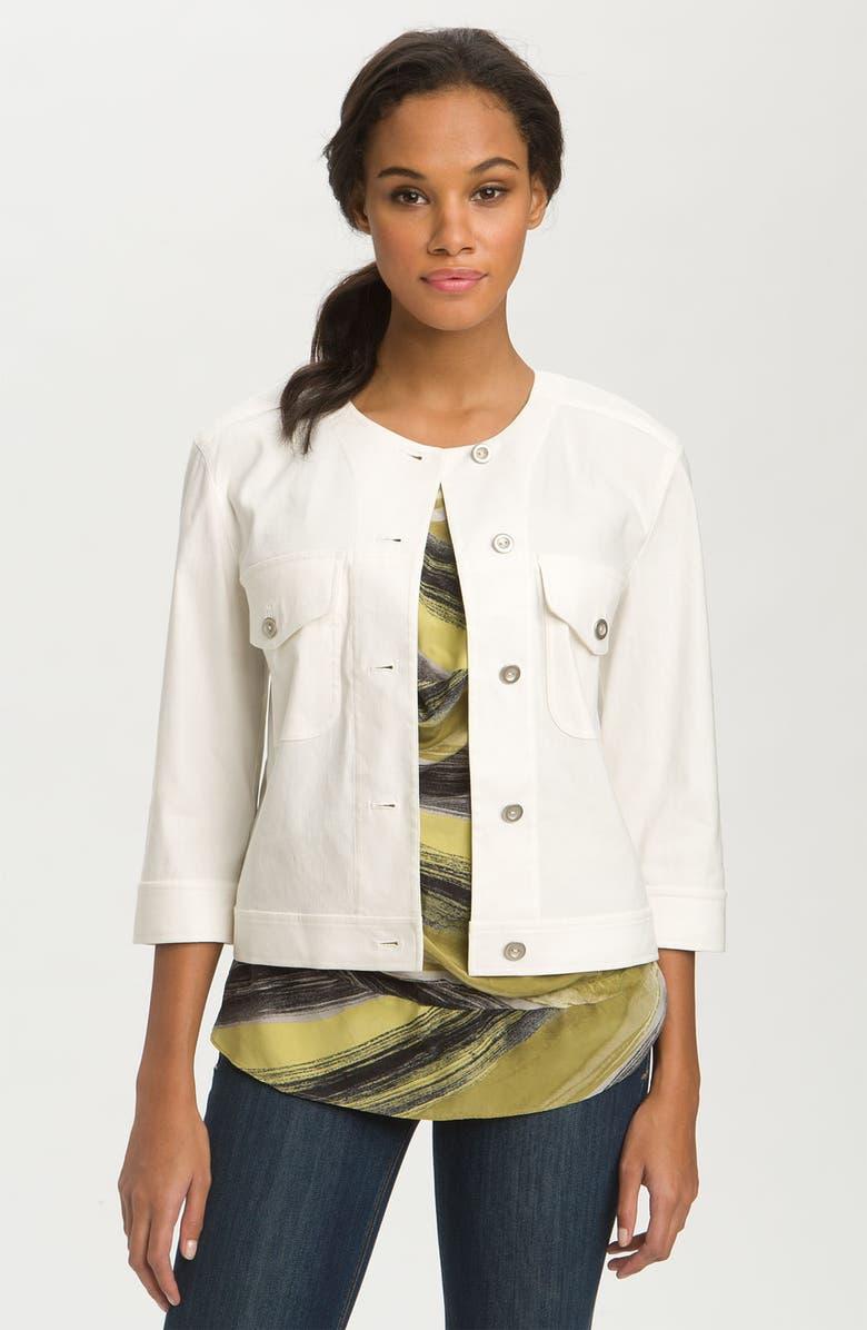 Textured Linen Blend Jean Jacket