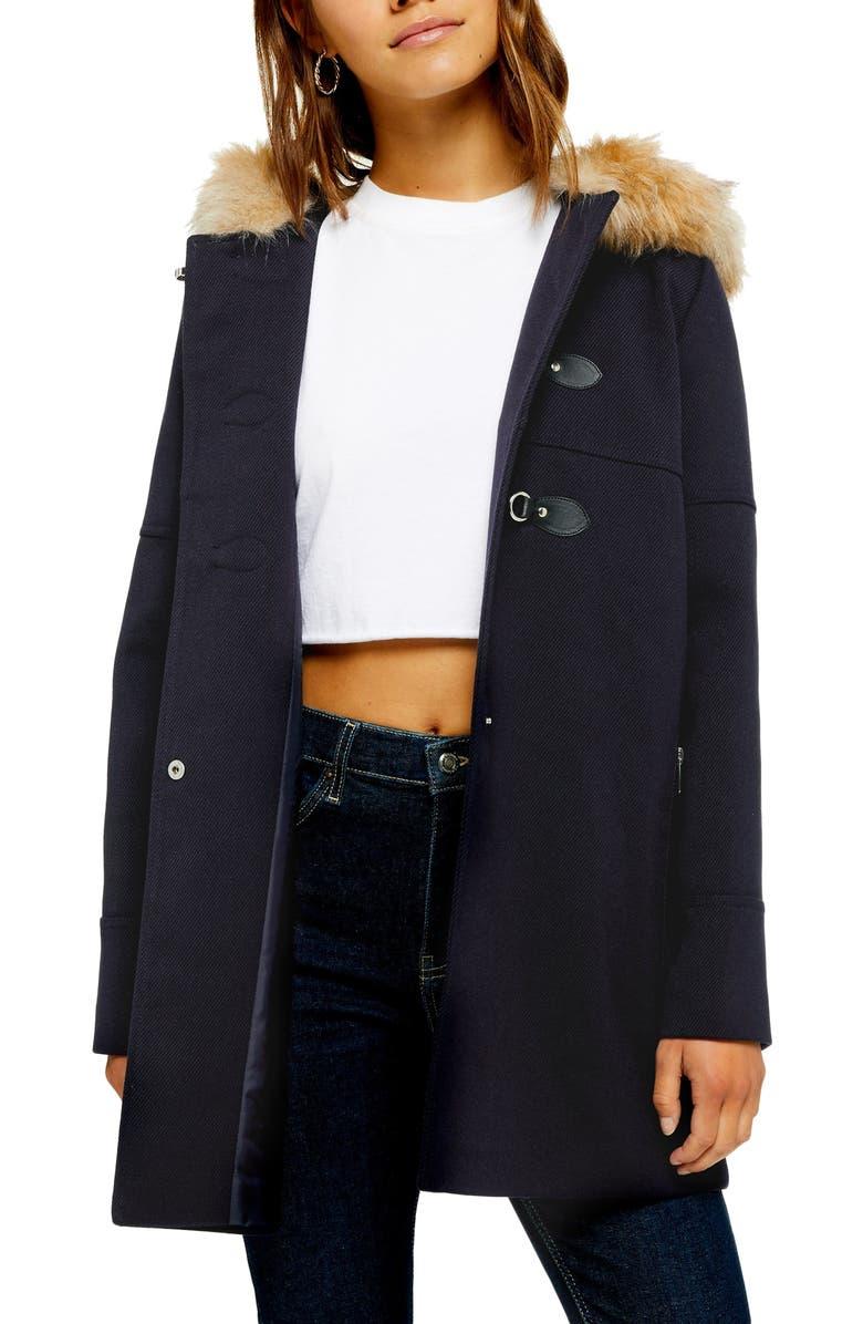 TOPSHOP Faux Fur Trim Duffle Coat, Main, color, 411