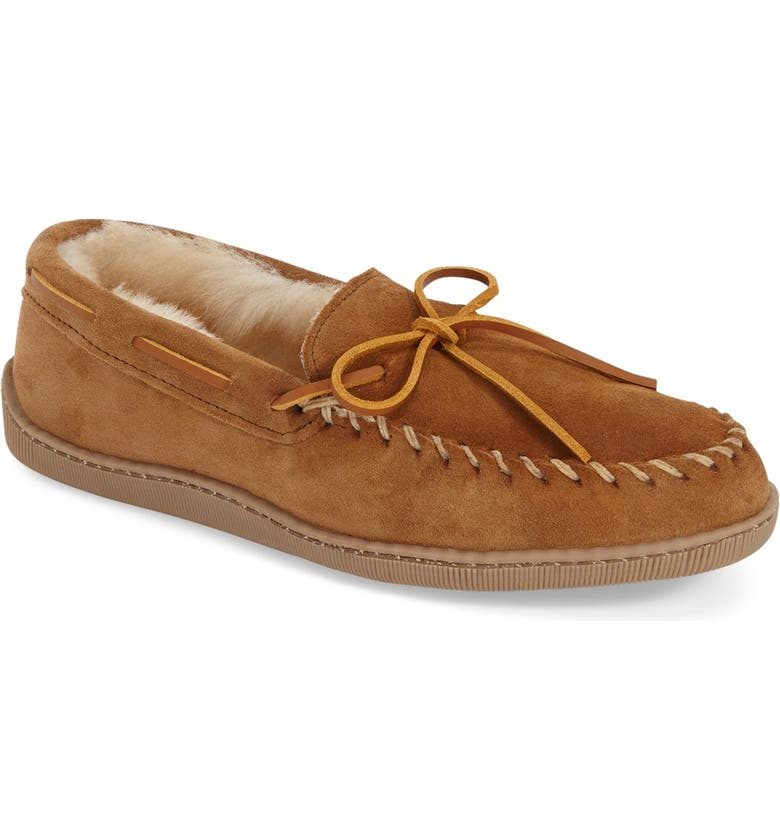MINNETONKA Genuine Shearling Moccasin Slipper, Main, color, TAN