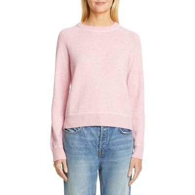 Ganni Crewneck Wool Blend Sweater, Pink