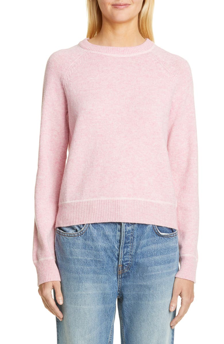 GANNI Crewneck Wool Blend Sweater, Main, color, CANDY PINK