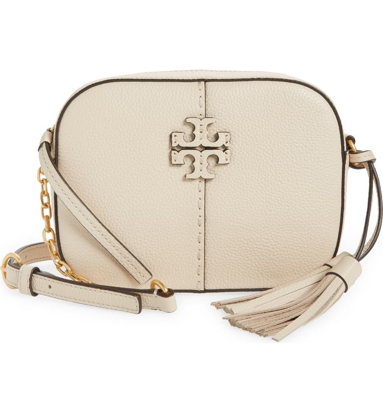 TORY BURCH McGraw Leather Camera Bag, Main, color, BRIE