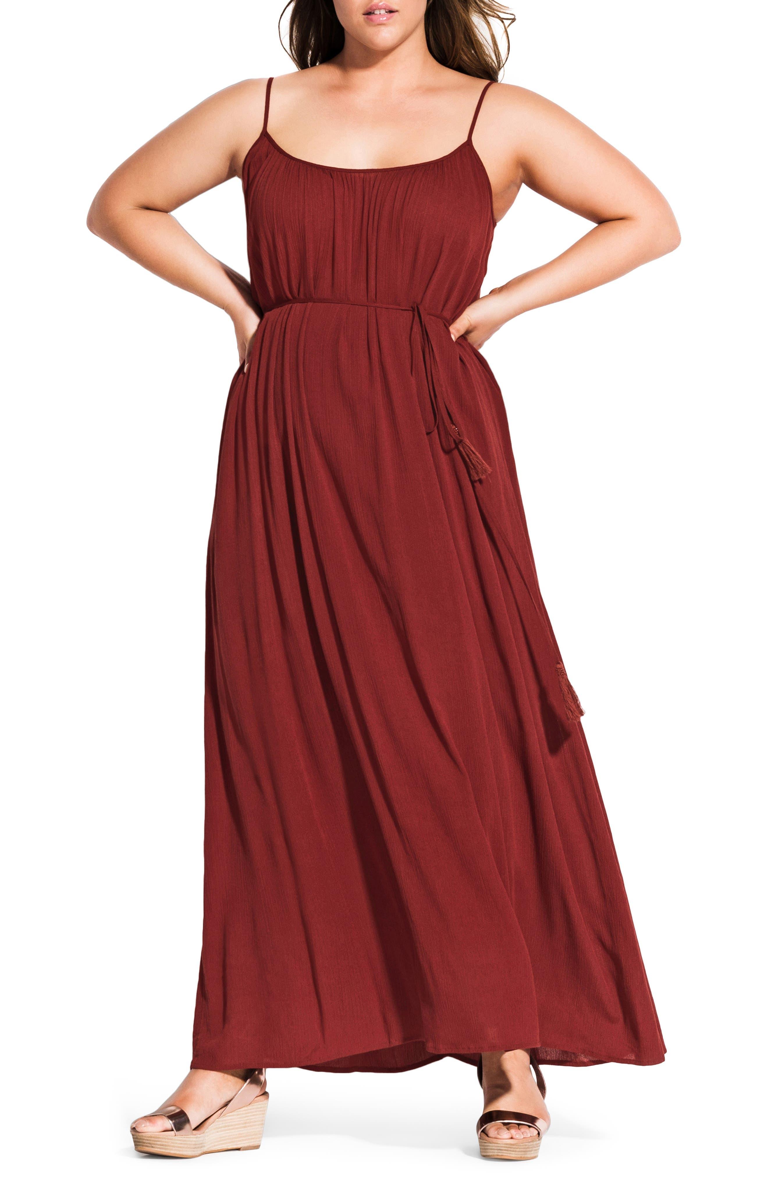 Plus Size Chic City Paradise Maxi Dress, Orange