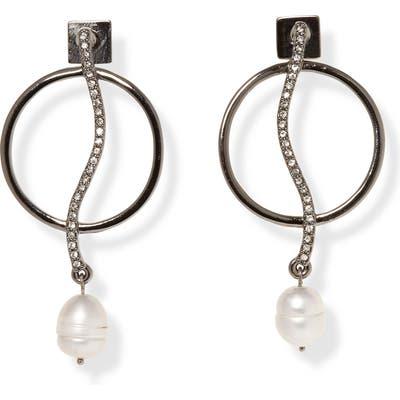 Vince Camuto Pearl Drop Frontal Hoop Earrings