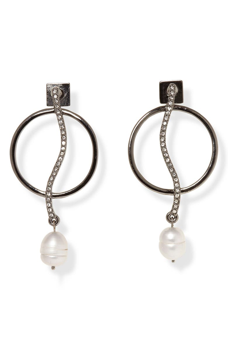 VINCE CAMUTO Pearl Drop Frontal Hoop Earrings, Main, color, HEMATITE