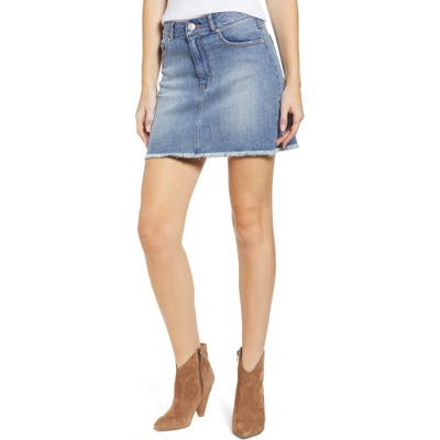 Prosperity Denim Raw Hem Denim Miniskirt