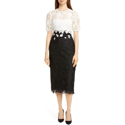 Lela Rose Contrast Bodice Lace Sheath Dress, Black