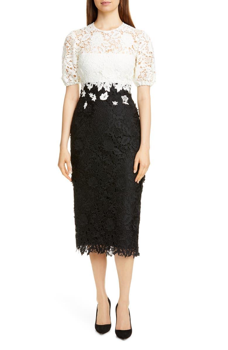 LELA ROSE Contrast Bodice Lace Sheath Dress, Main, color, BLACK/ IVORY