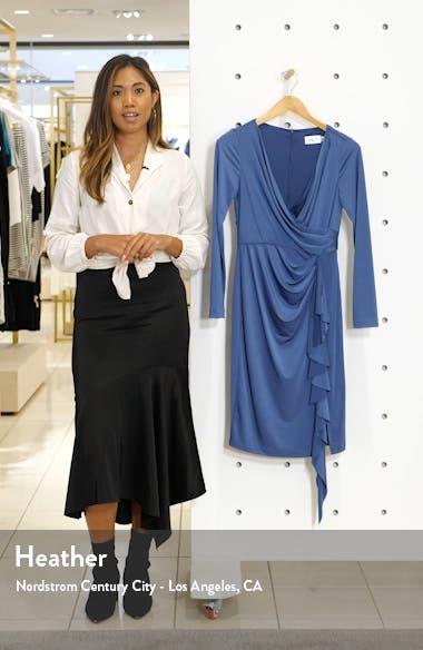 Long Sleeve Faux Wrap Knit Dress, sales video thumbnail