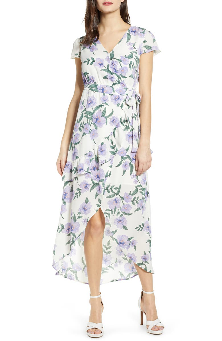 J.O.A. Floral Wrap Style Dress, Main, color, 900