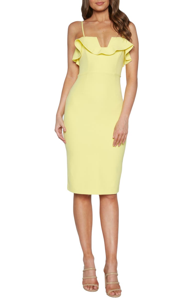 BARDOT Rossa Frill Cocktail Dress, Main, color, 740