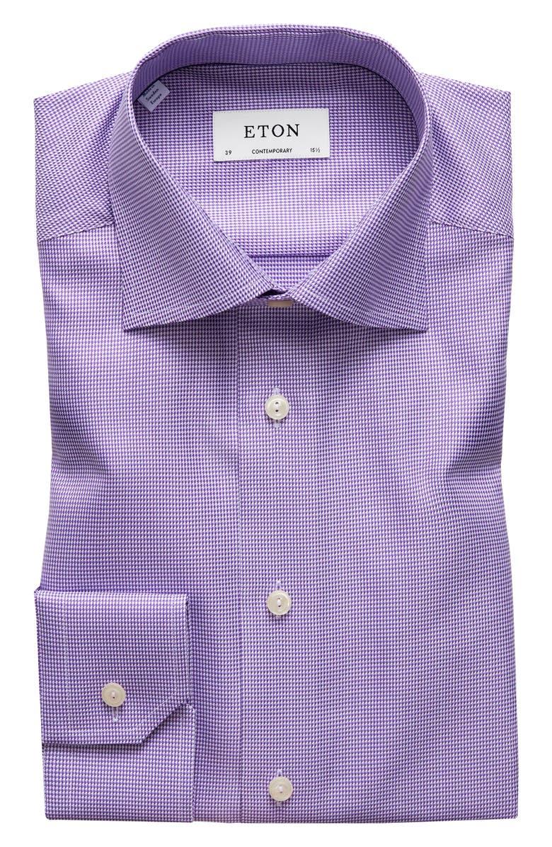 ETON Contemporary Fit Houndstooth Dress Shirt, Main, color, PURPLE