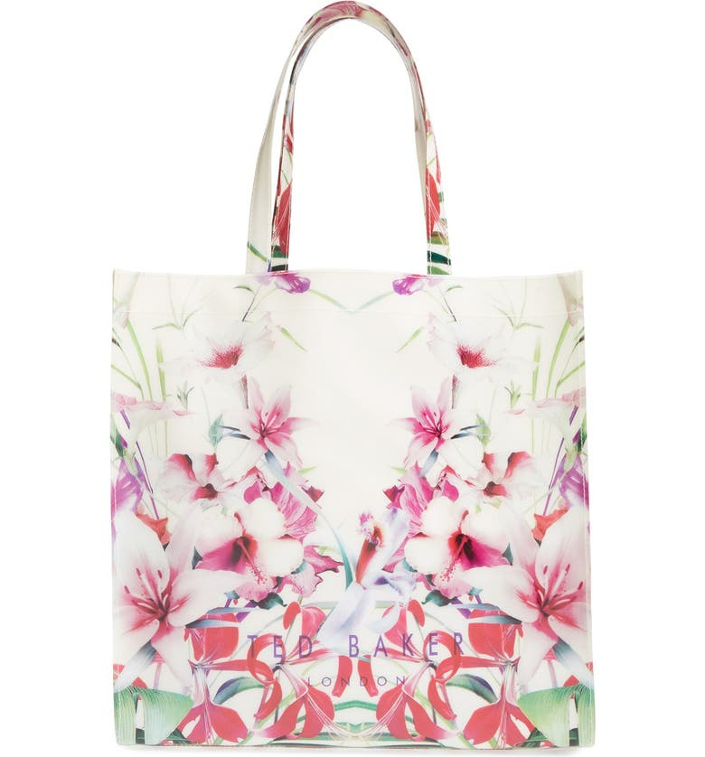 TED BAKER LONDON 'Mirrored Tropics Icon' Tote, Main, color, IVORY