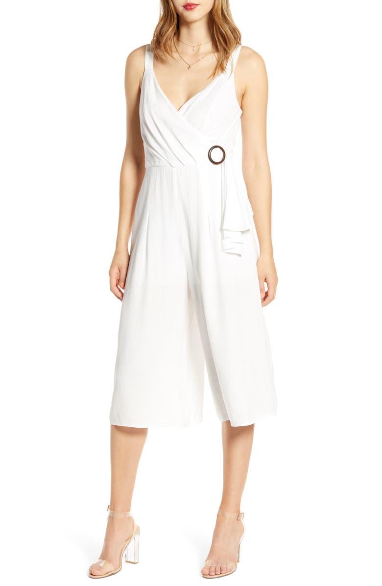 ROW A Buckle Detail Crop Jumpsuit, Main, color, WHITE