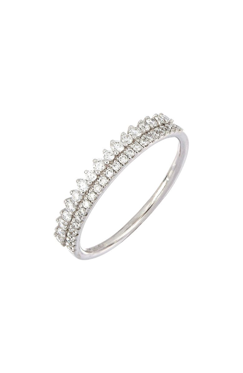 BONY LEVY Two-Row Diamond Stacking Ring, Main, color, WHITE GOLD/ DIAMOND