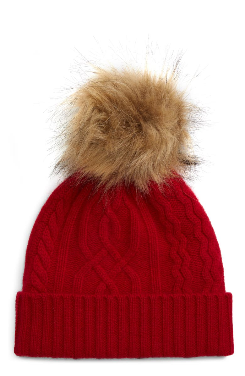 HALOGEN<SUP>®</SUP> Cable Cashmere Pom Beanie, Main, color, RED CHILI