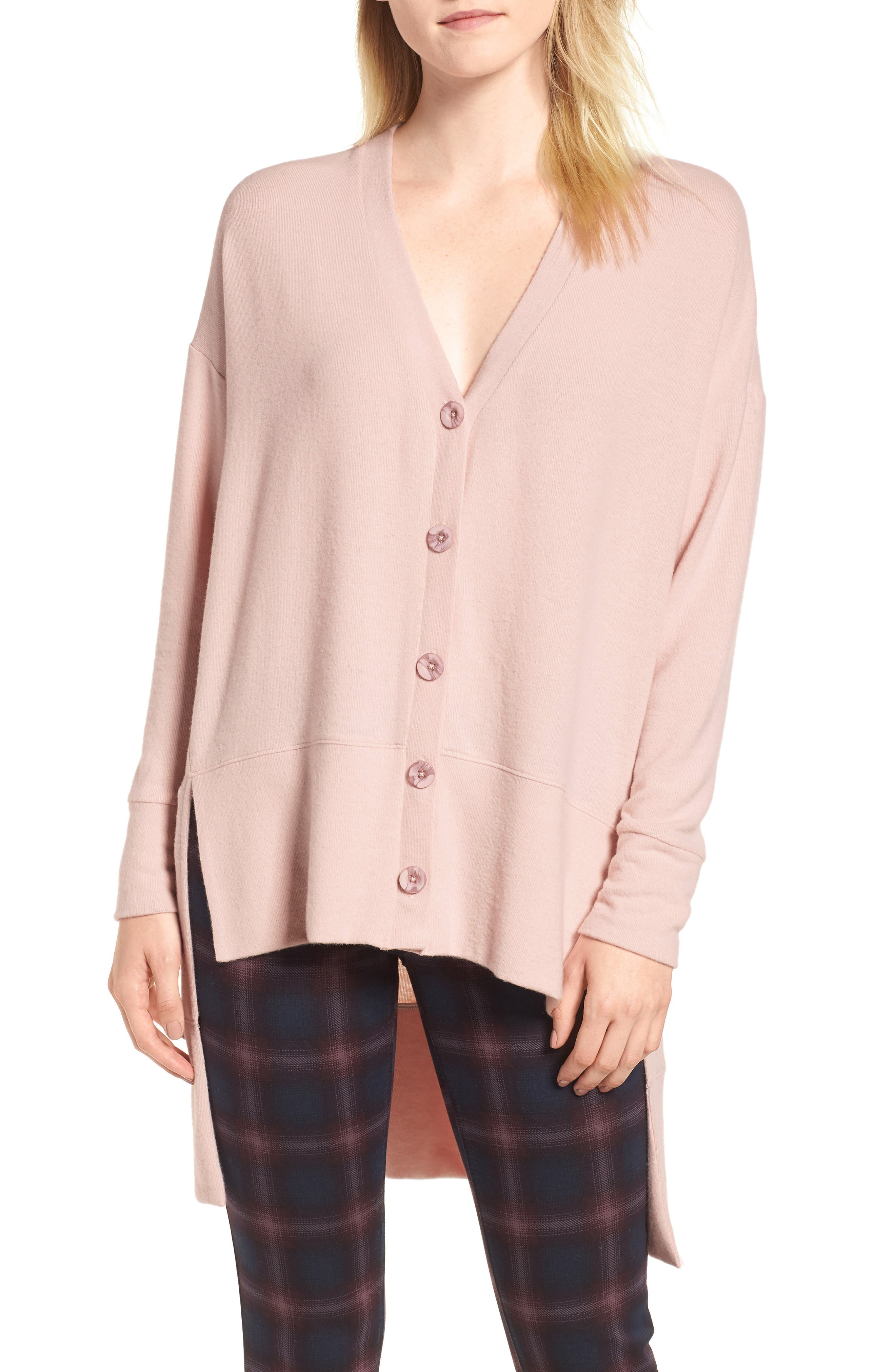 Petite Gibson High/low Easy Cardigan, Pink