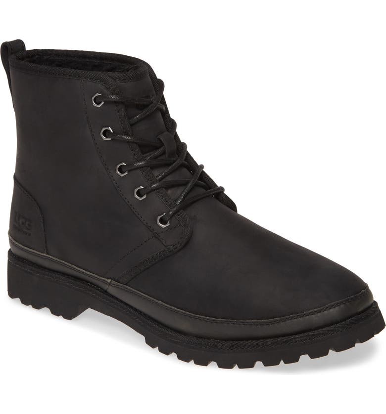 UGG<SUP>®</SUP> Harkland Waterproof Plain Toe Boot, Main, color, BLACK