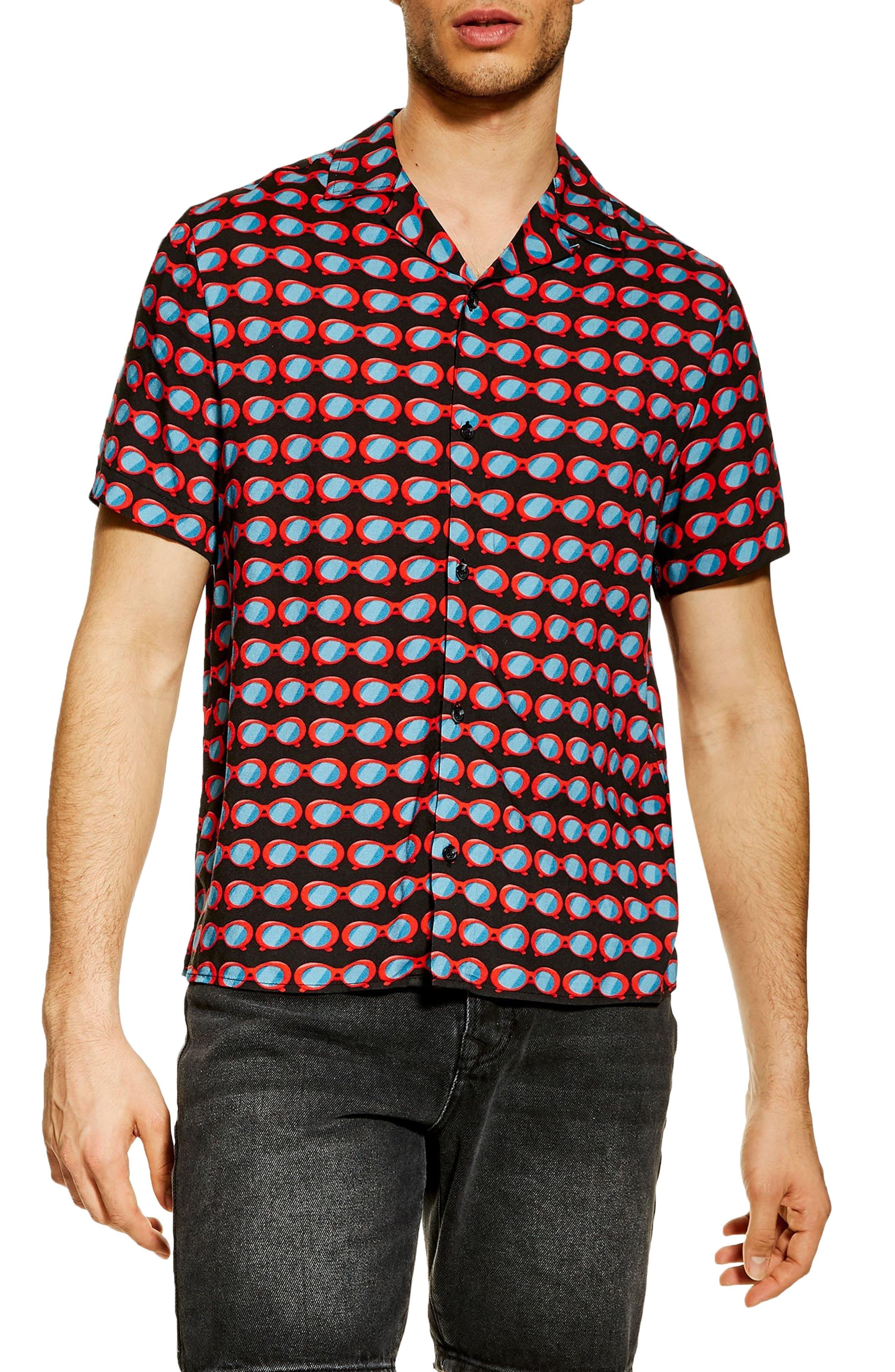 Sunglasses Print Camp Shirt, Main, color, BLACK MULTI