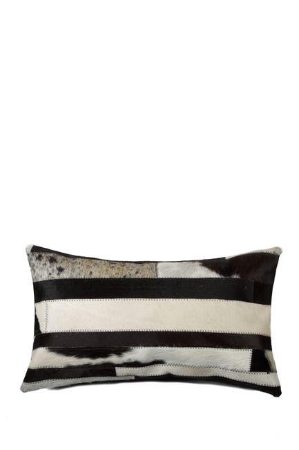 "Image of Natural Torino Madrid Genuine Cowhide Pillow - 12""x20""- Black & White"