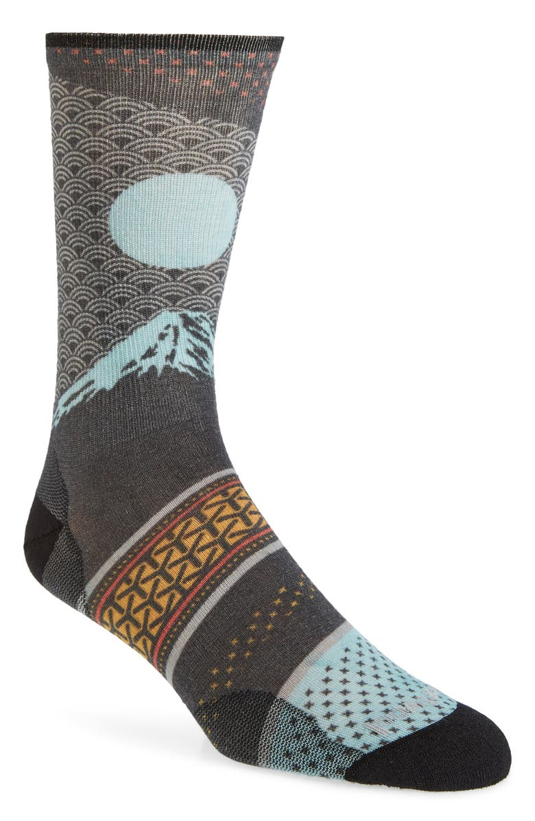SMARTWOOL Curated Mt. Fuji Crew Socks, Main, color, GREY MULTI