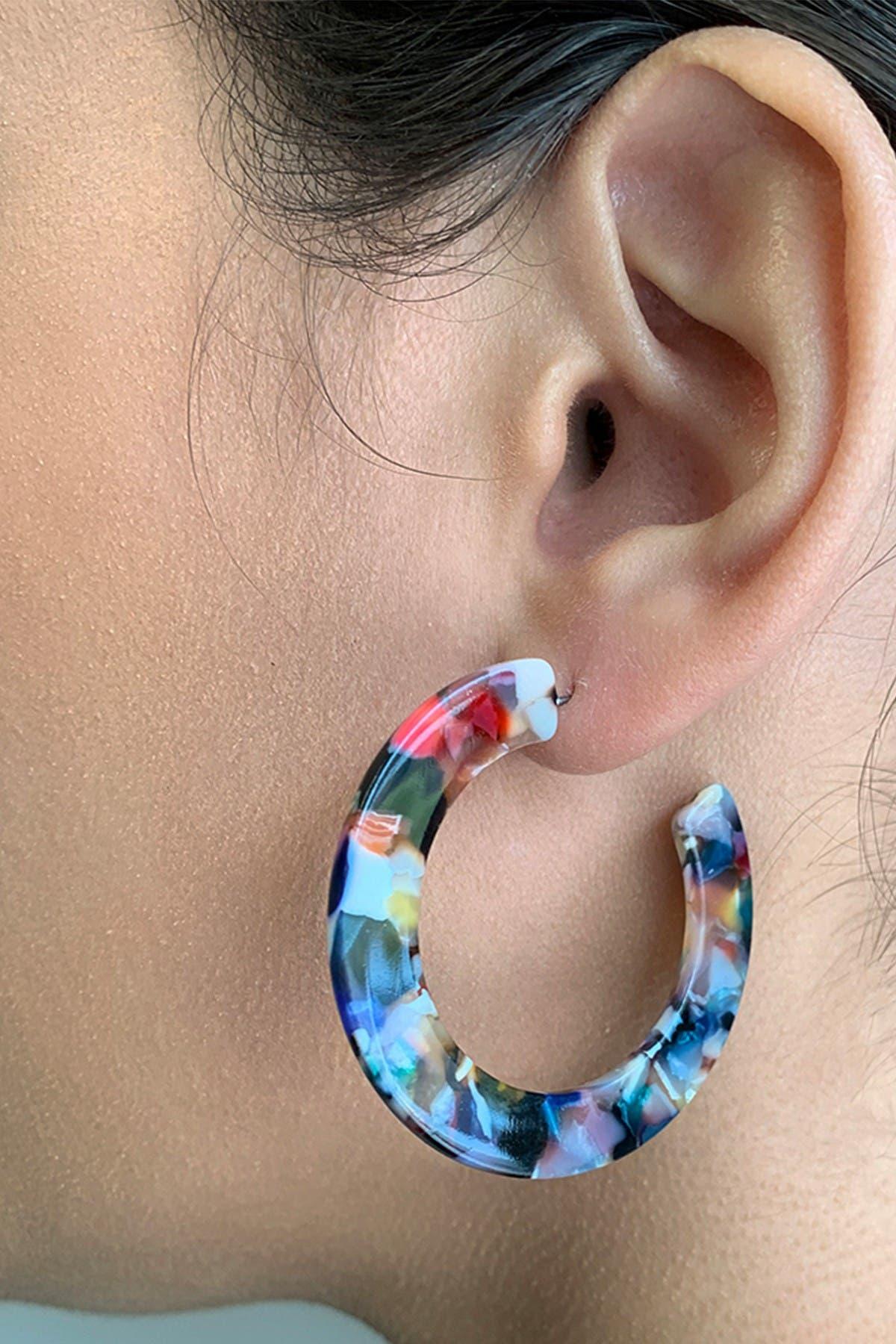 Sterling Forever Light Confetti Resin Hoop Earrings