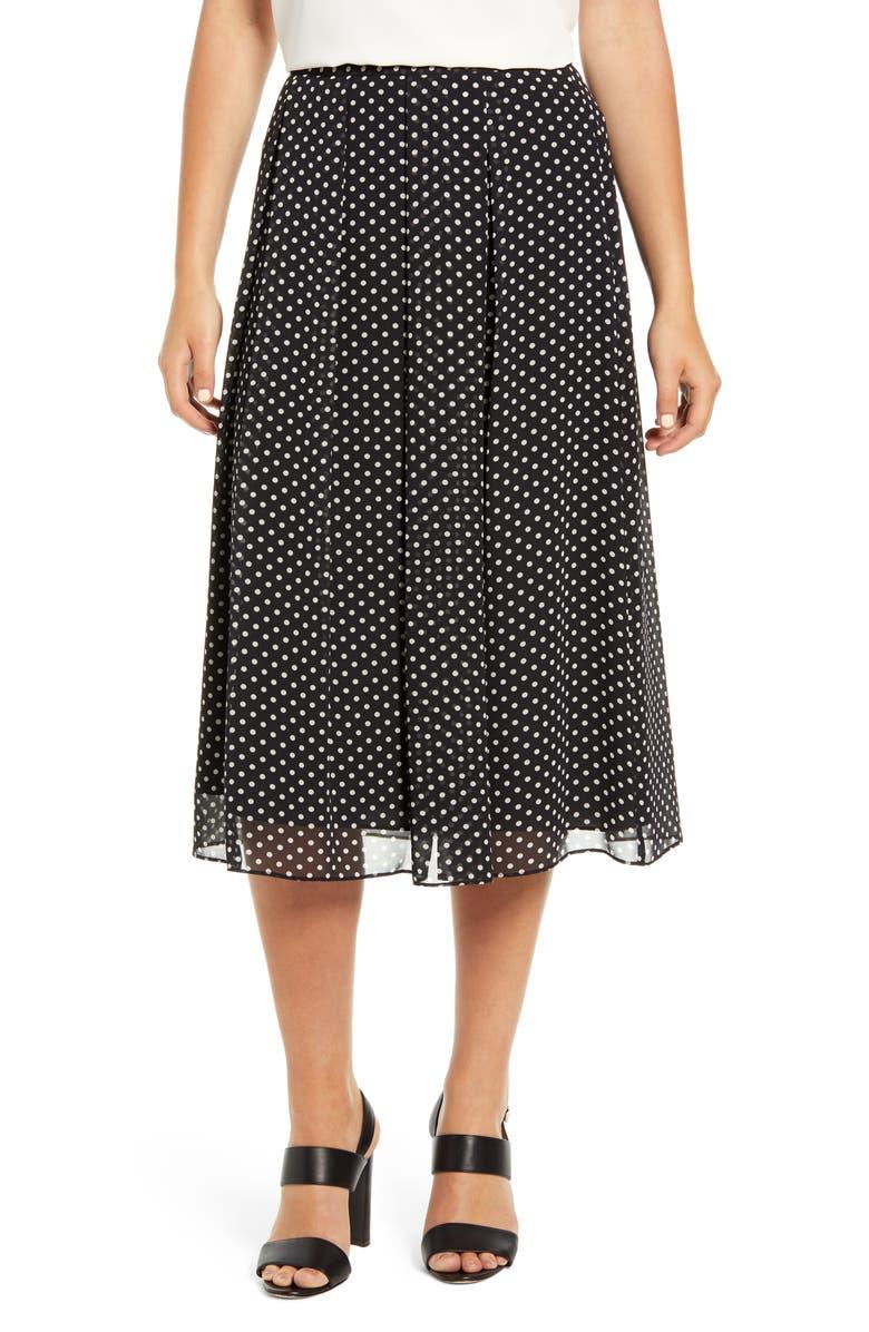 ANNE KLEIN Dot Box Pleat Skirt, Main, color, ANNE BLACK/ ANNE WHITE