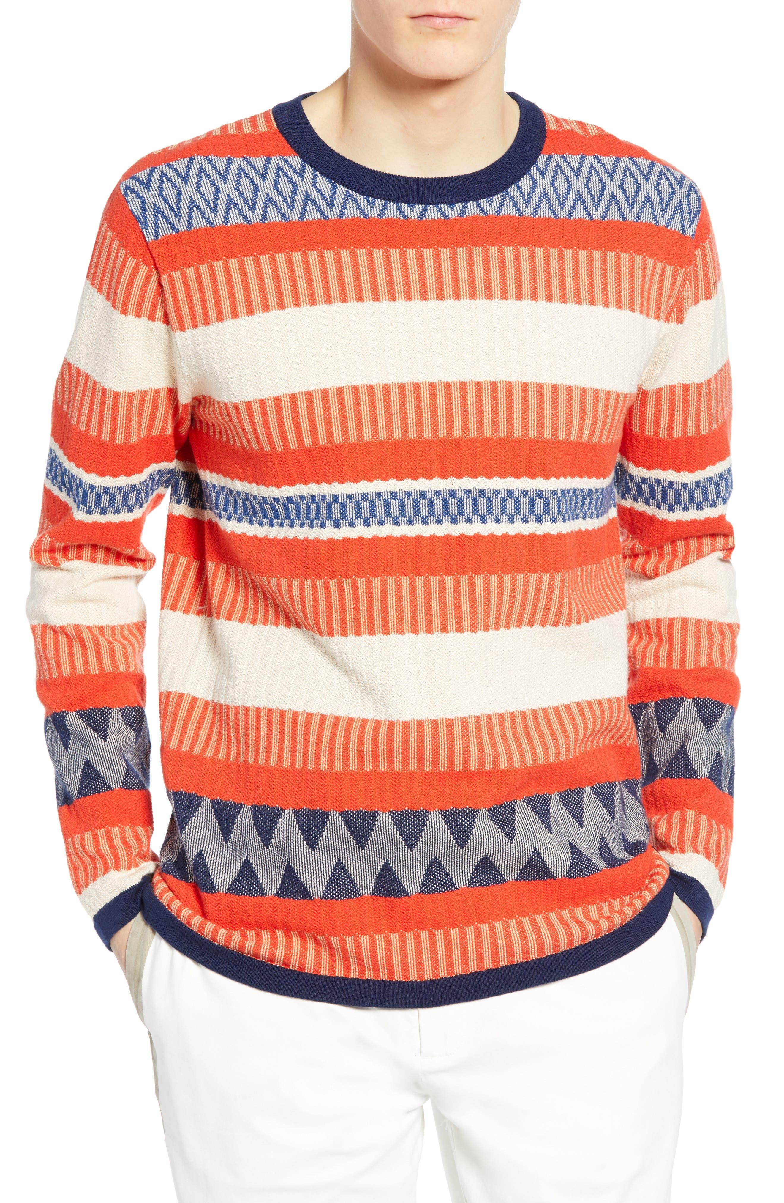 Scotch & Soda Stripe Crewneck Sweater, Red