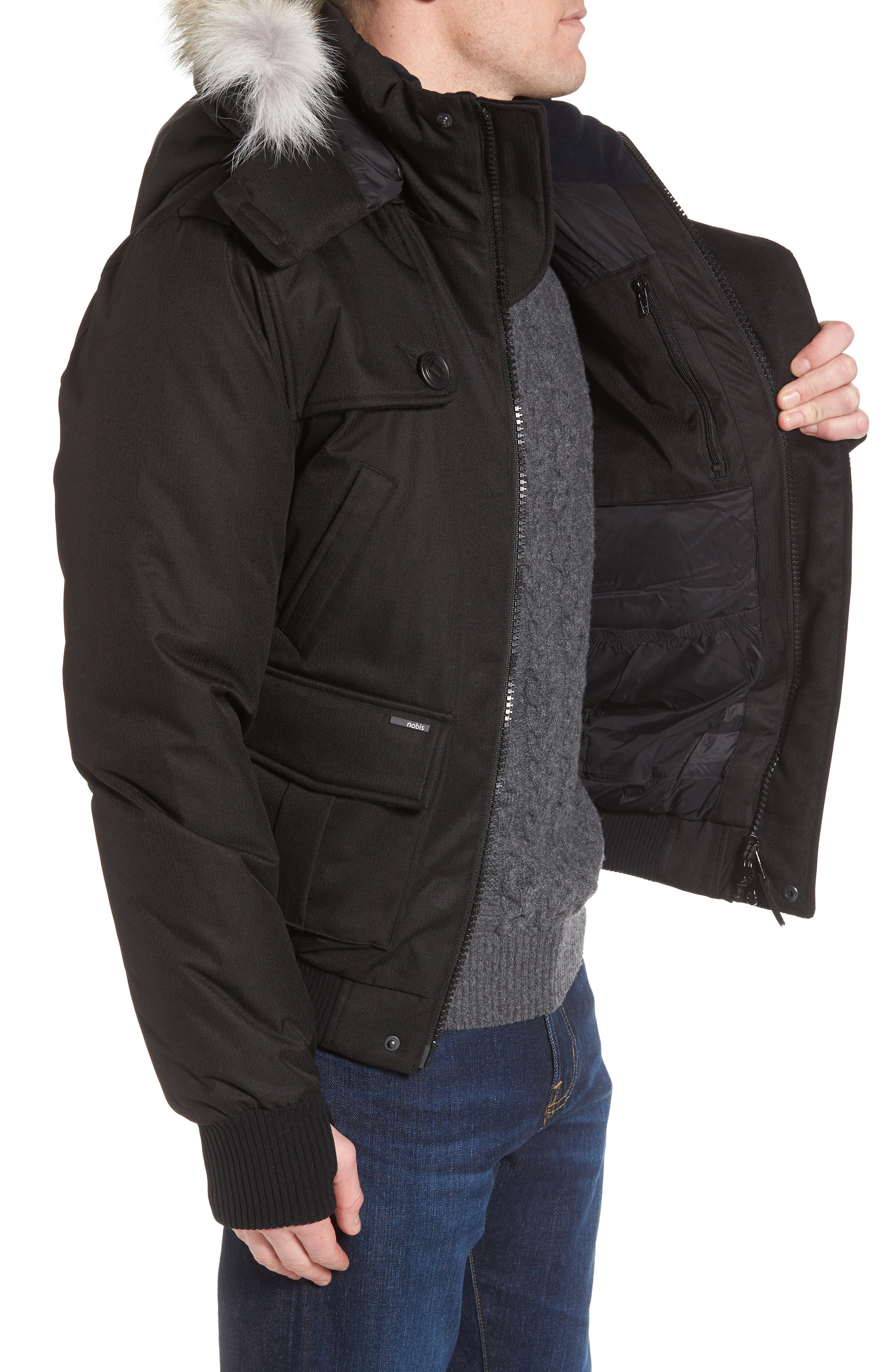 ,                             Windproof & Waterproof 650-Fill Power Down Bomber Jacket with Genuine Coyote Fur Trim,                             Alternate thumbnail 4, color,                             BLACK