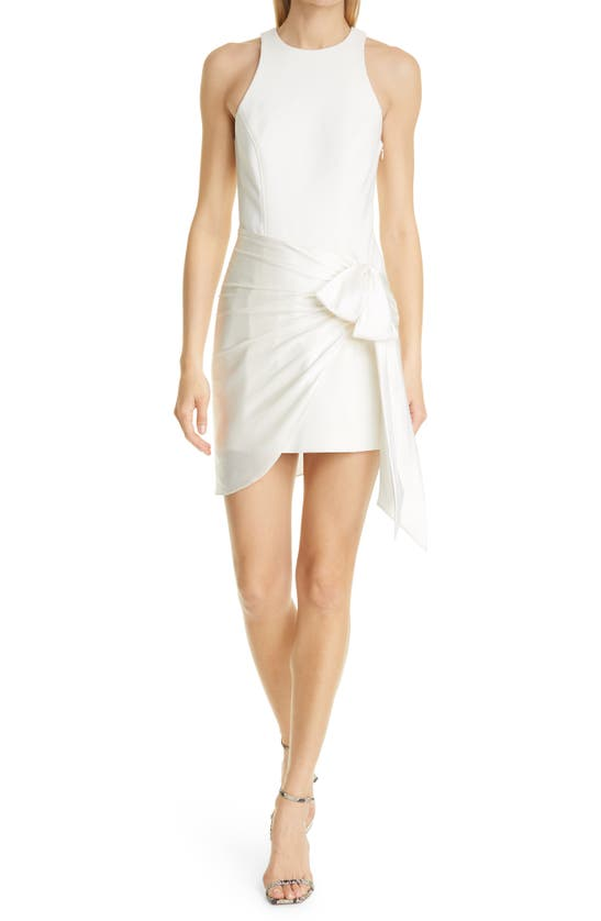 Cinq À Sept Windsor Bow Detail Silk Sheath Dress In Ivory
