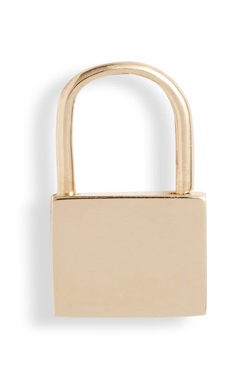 EF COLLECTION Single Lock Earring, Main, color, YELLOW GOLD