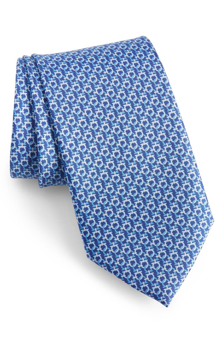 SALVATORE FERRAGAMO Gancini Link Print Silk Tie, Main, color, BLUE