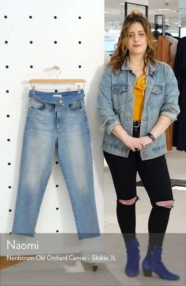 Alicia Foldover Waist Crop Mom Jeans, sales video thumbnail