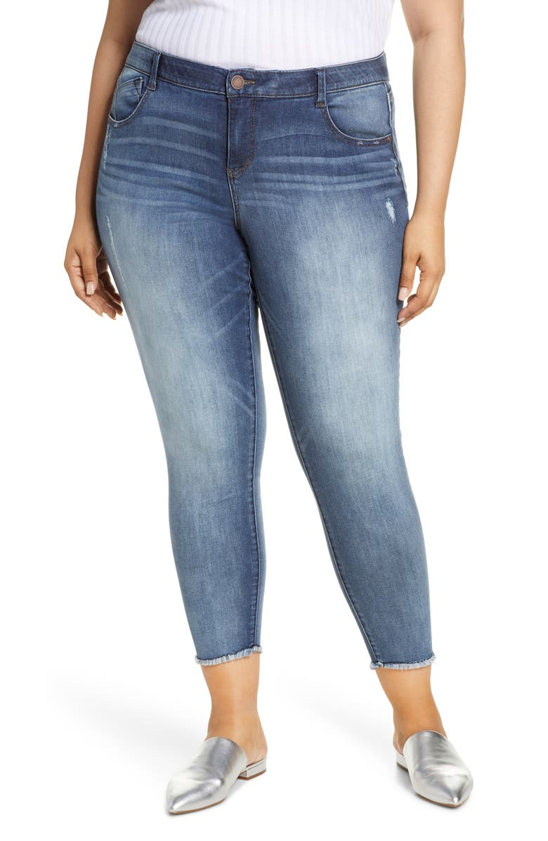 WIT & WISDOM Luxe Touch Fray Hem Ankle Skinny Jeans, Main, color, BLUE