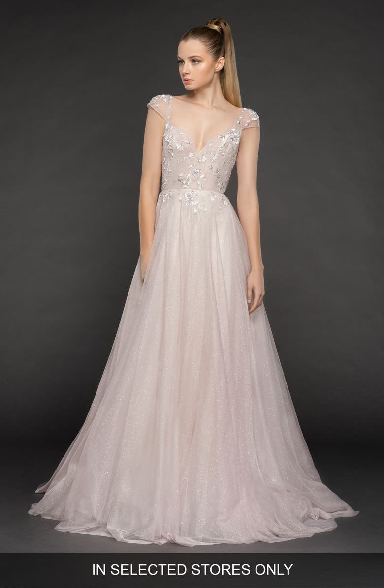 BLUSH BY HAYLEY PAIGE Amour Tulle A-Line Gown, Main, color, BLUSH
