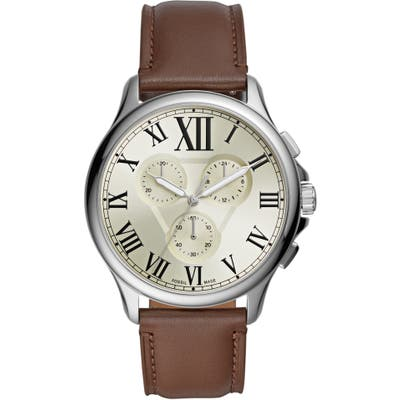 Fossil Monty Chronograph Leather Strap Watch, 4m