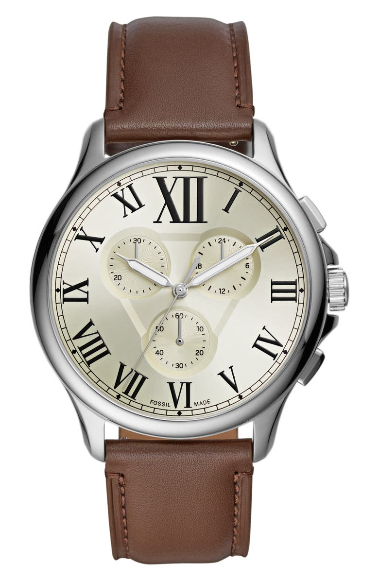 FOSSIL Monty Chronograph Leather Strap Watch, 44mm, Main, color, 200