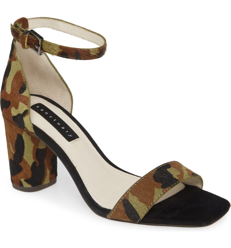 SANCTUARY Strut Genuine Calf Hair Sandal, Main, color, FATIGUE CALF HAIR