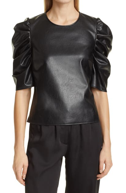 Cinq À Sept Leathers FAUX LEATHER PUFF SLEEVE TOP