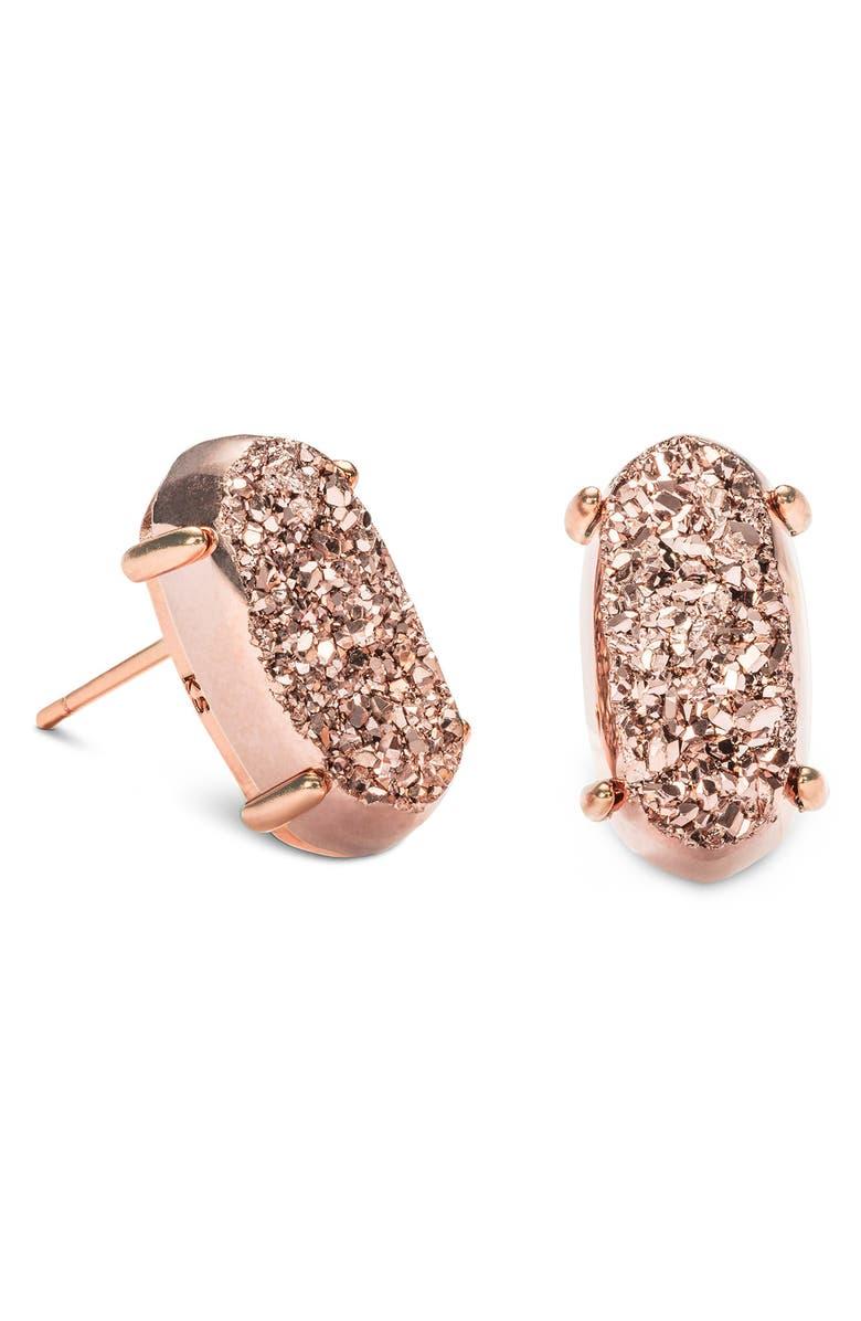 KENDRA SCOTT Betty Stud Earrings, Main, color, ROSE GOLD/ ROSE GOLD DRUSY
