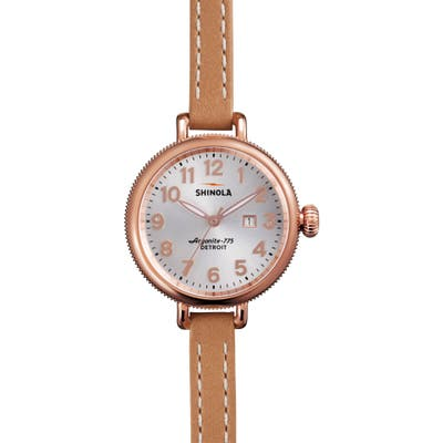Shinola The Birdy Leather Strap Watch,