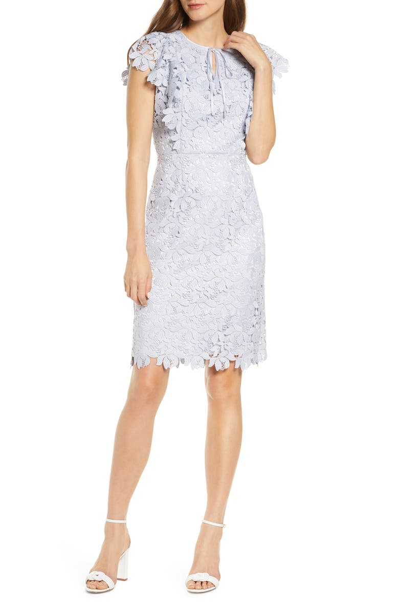 RACHEL PARCELL Lace Sheath Dress, Main, color, BLUE ICE