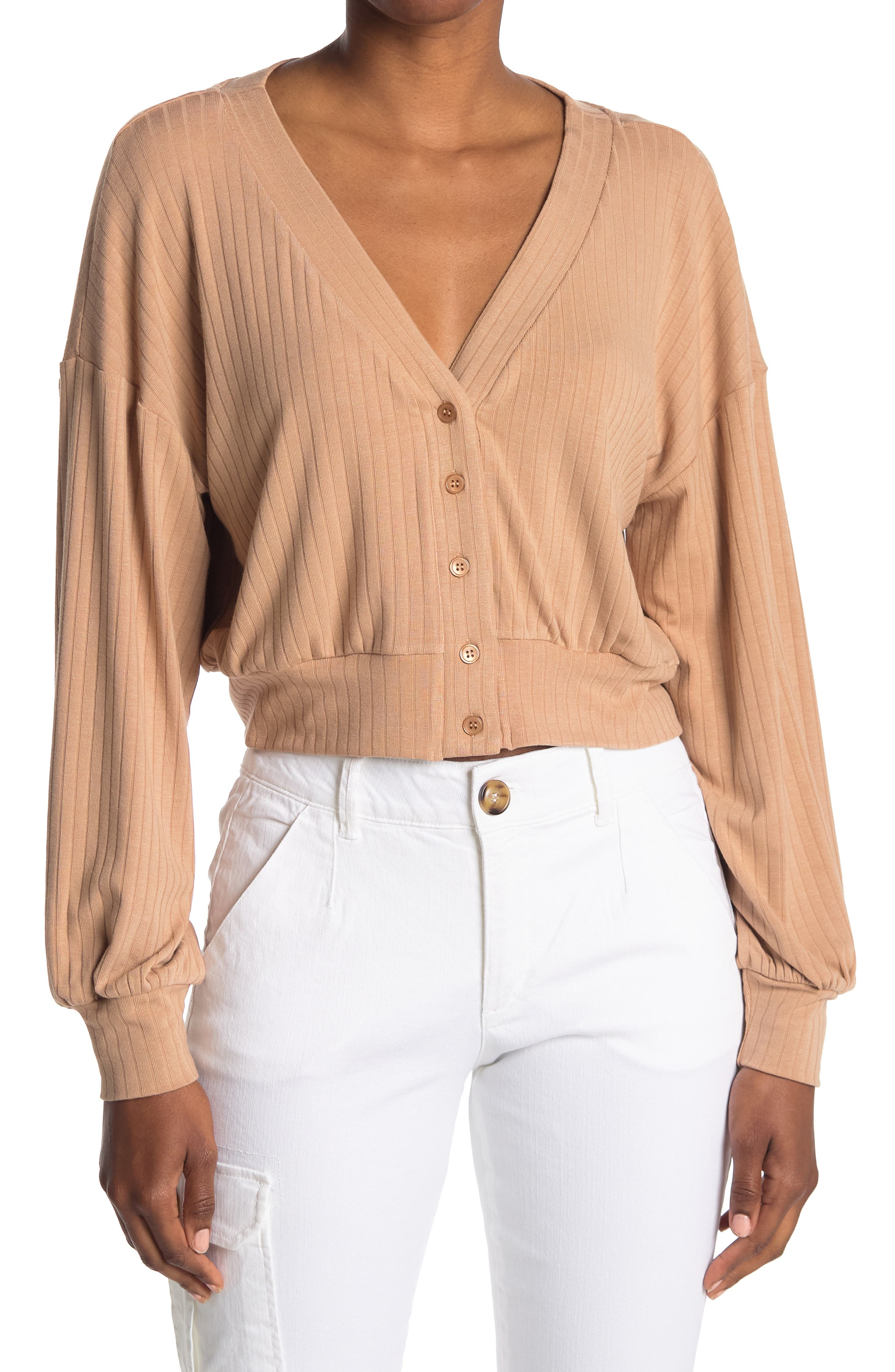 Image of Elodie Soft Ribbed Button Front Cardigan