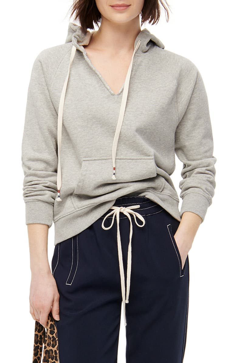 J.CREW Original Garment Dyed V-Neck Cotton Terry Hoodie, Main, color, HEATHER GREY