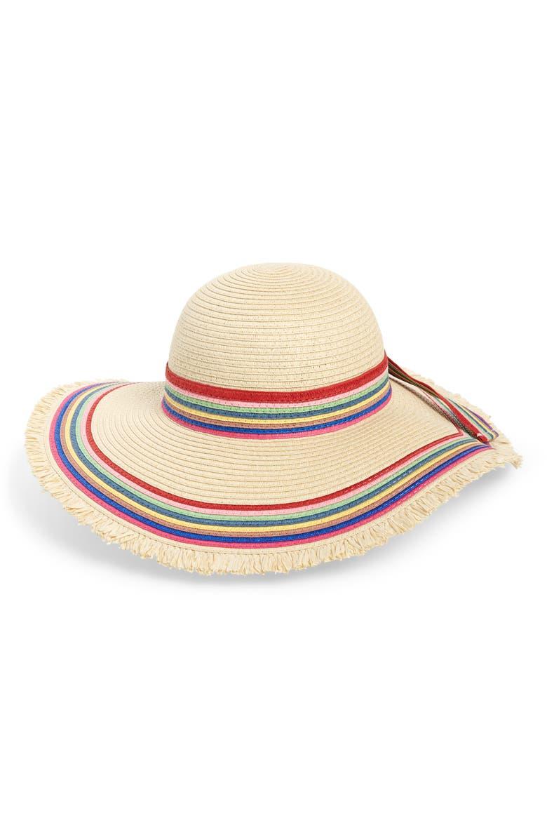 Sole Society Rainbow Stripe Straw Hat