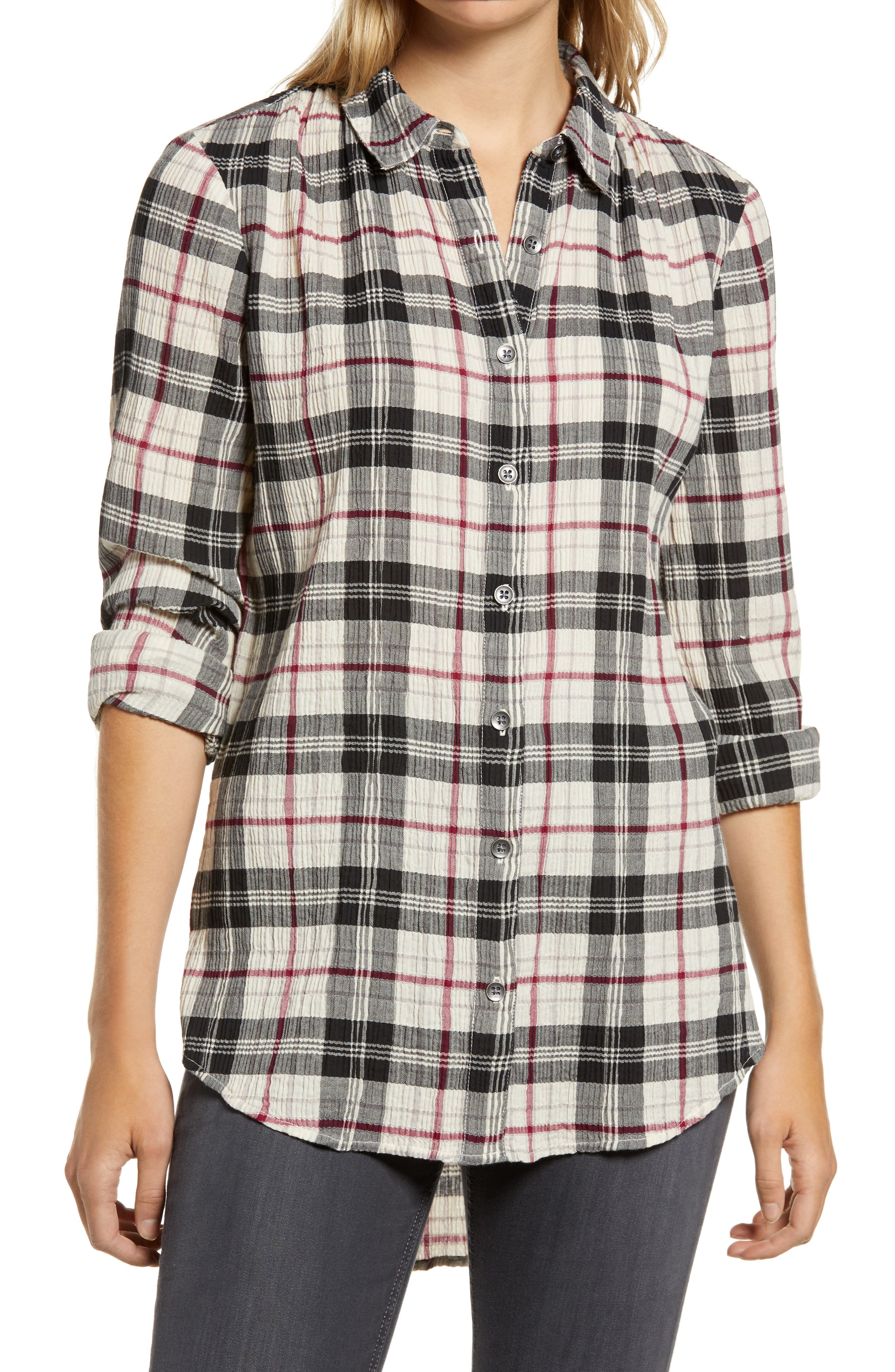Weekend plaid is perfected in this tunic-length shirt of soft twill with a cozy crimped texture. Style Name: Caslon Plaid Tunic Shirt (Regular & Petite). Style Number: 5620671. Available in stores.