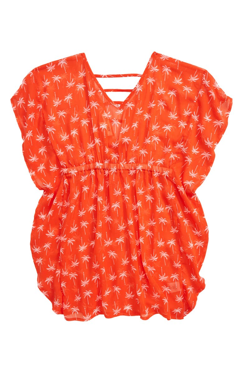 LITTLE PRETTIES Palm Print Cover-Up Tunic, Main, color, 800