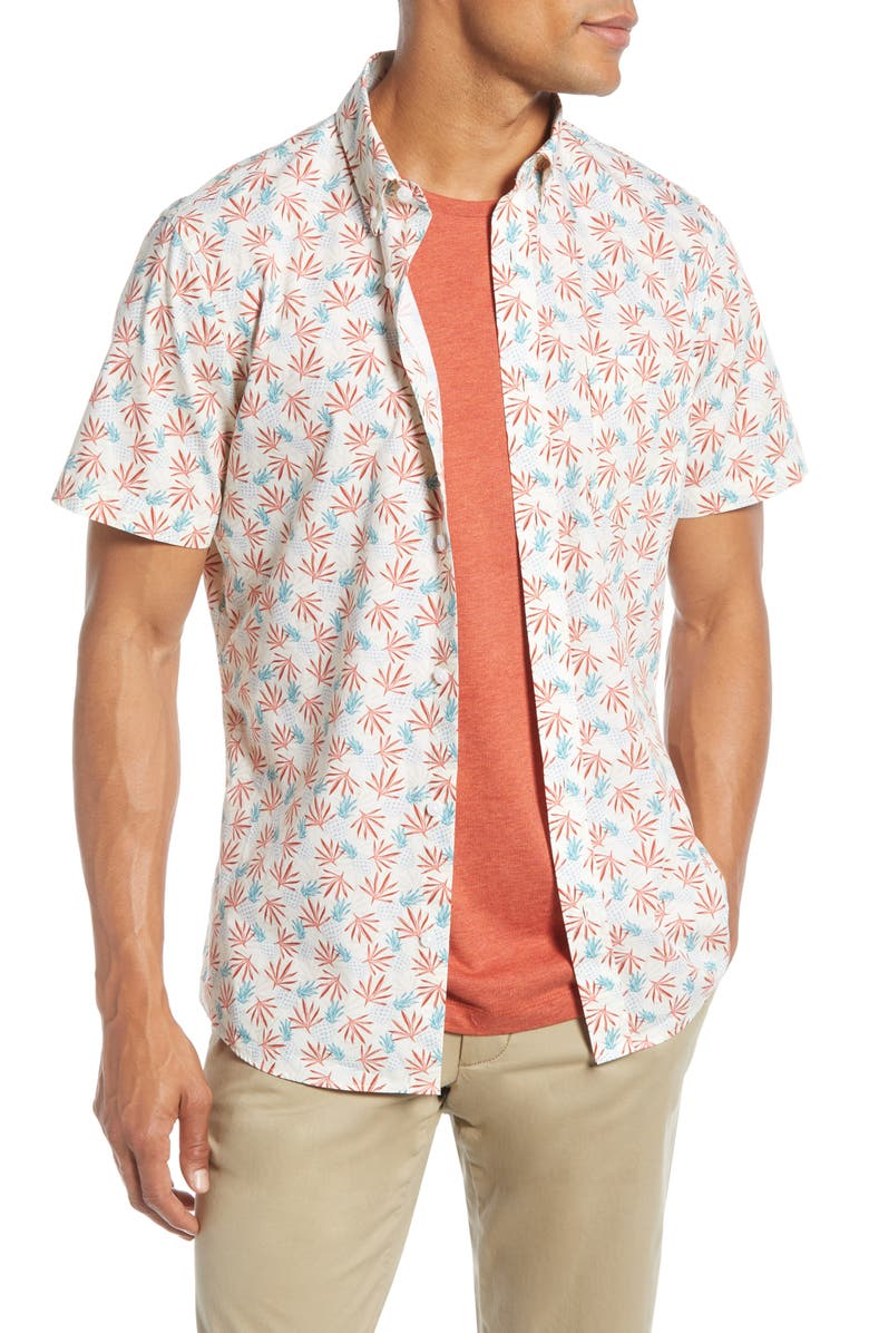 1901 Pineapple Print Shirt, Main, color, IVORY EGRET PINEAPPLE PRINT